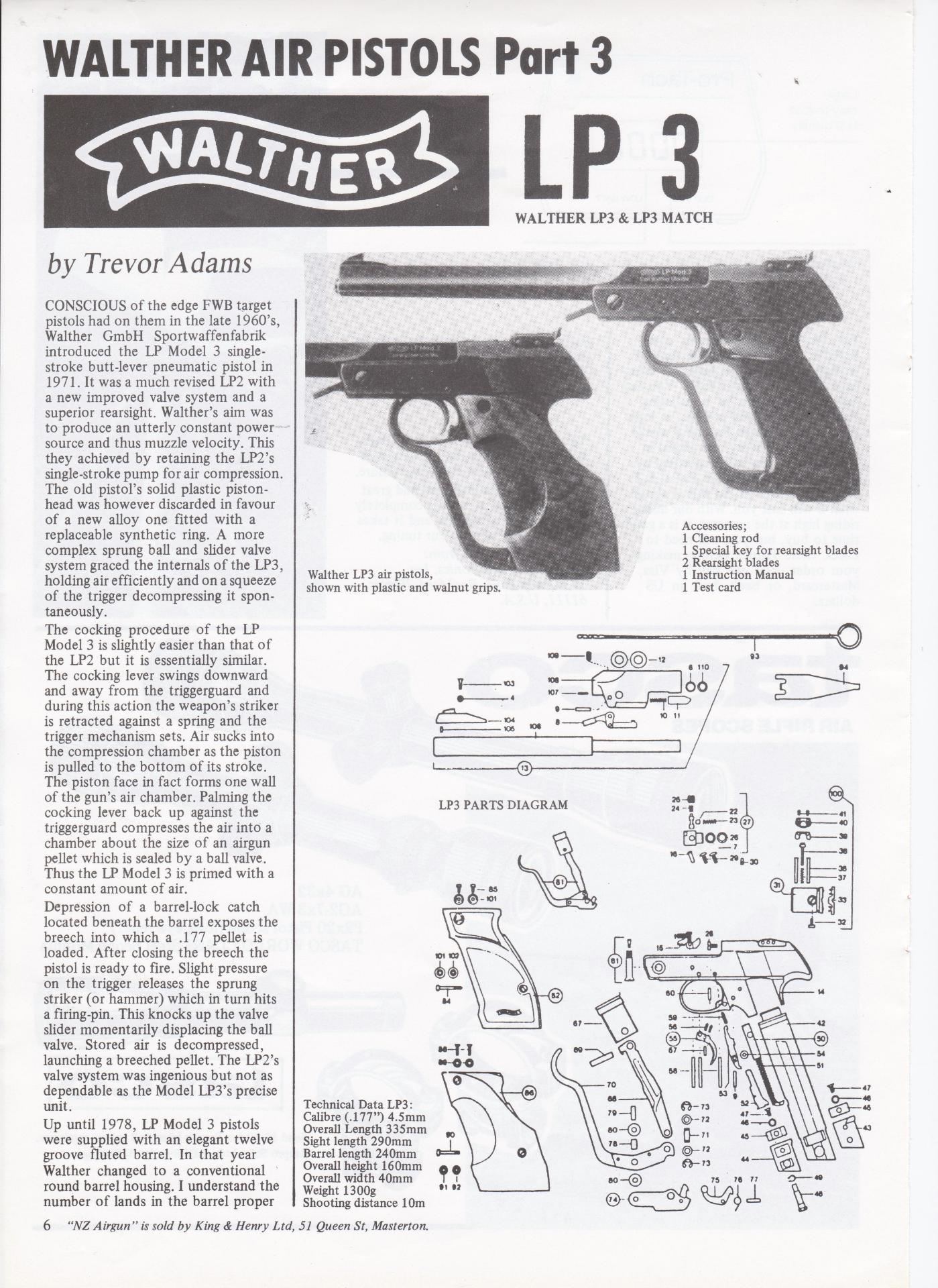 walther air pistol instruction manual